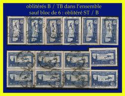 POSTE AÉRIENNE N° 6 - AVION SURVOLANT MARSEILLE 1930 - 14 EXEMPLAIRES - OBLITÉRÉS B / TB + BLOC DE 6 OBLITÉRÉ ST - - Airmail