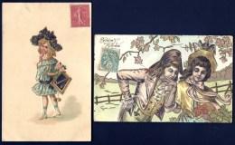 2 CPA ANCIENNES GAUFRÉES FRANCE- ILLUSTRATIONS D'ENFANTS EN COSTUME  ET COIFFE ANCIENS TEMPS- - Scènes & Paysages