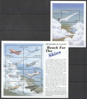 L910 CENTRAFRICAINE THE HISTORY OF AVIATION REACH FOR THE SKIES 1KB+1BL MNH - Airplanes