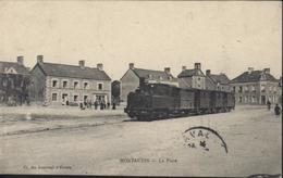 CPA Montaudin La Place Train Locomotive Hôtel Du Cheval Blanc YT 129 Semeuse CAD Ambulant Mayenne à Fougères 1906 - France