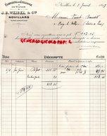 25-NOVILLARS- FACTURE J.B. WEIBEL - FABRIQUE CELLULOSE ET PAPIER- 1898 - France