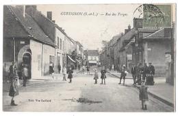 GUEUGNON - Rue Des Forges (vue Animée - Café - Enfants Sur La Route) - Gueugnon