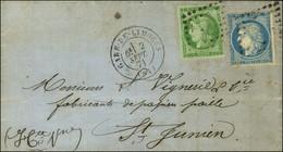 Losange Ambulant / N° 37 + 42 Report 1 Càd GARE DE LIMOGES (81) 2 SEPT. 71 Sur Lettre Avec Texte Daté De La Jonchère Pou - 1870 Uitgave Van Bordeaux