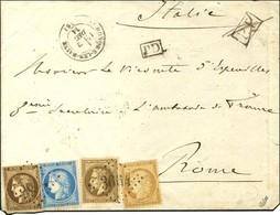 GC 3664 / N° 30 + 47 (leg Def) + 59 + 60 Càd T 17 ST HONORE LES BAINS (56) 2 DEC. 71 Sur Lettre 2 Ports Pour Rome. Au Re - 1870 Uitgave Van Bordeaux