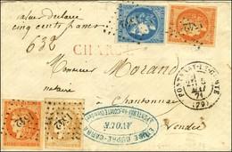 PC Du GC 1542 / N° 43 (pd) + 46 + 48 (2) Càd T 17 FONTENAY-LE-COMTE (79) 5 MAI 71 Sur Lettre Chargée Pour Chantonnay. Ex - 1870 Uitgave Van Bordeaux