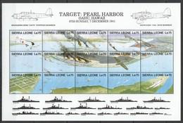 L967 SIERRA LEONE MILITARY & WAR AVIATION PEARL HARBOR 1SH MNH - 2. Weltkrieg