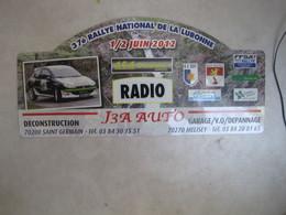 PLAQUE DE RALLYE    37 EME RALLYE NATIONAL DE LA LURONNE  2012 - Plaques De Rallye