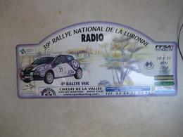 PLAQUE DE RALLYE    39 EME RALLYE NATIONAL DE LA LURONNE  2014 - Rallye (Rally) Plates