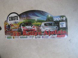 PLAQUE DE RALLYE    12 EME RALLYE AJOLAIS 2014 - Plaques De Rallye