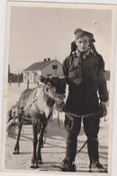 Carte Photo ,1956,laponie,finlande ,hetta  Kauppamatkalla,habitant Se Déplaçant En Traineau,avec Animal - Finlande