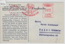1937 1. HAPAG Telegramm Reykjavik Motorschiff Milwaukee - AK Auf Island Icelandic Scenery 27.7. - Maritime
