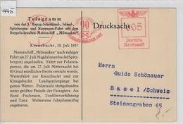 1937 1. HAPAG Telegramm Kreuzbucht Motorschiff Milwaukee - AK Gletscher In Der Magdalenenbucht, Glacier Magdalen Bay - Maritime