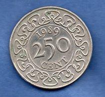Suriname  -  250 Cents  1989 -   Km # 24  -  état  TTB+ - Surinam 1975 - ...