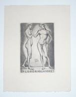 Ex-libris Moderne XXème Illustré -  Allemagne - Couple Nu - KARL ANDRES - Ex Libris