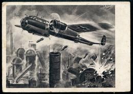 Angriff Einer Ju 88 Auf Ein Englisches Industriewerk, 5.11.1941, WW2, WK2,Pöchlarn,nach Einer Originalzeichnung, - Weltkrieg 1939-45