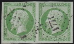 France  .      Yvert   .     12a  Paire  .   Vert-jaune          .         O    .     Oblitéré - 1853-1860 Napoléon III