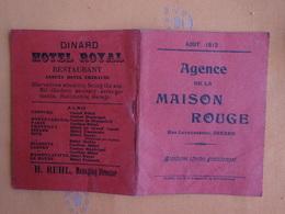 DEPLIANT TOURISTIQUE GUIDE  AOUT 1912 AGENCE DE LA MAISON ROUGE DINARD - Dépliants Touristiques