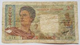 BILLET TAHITI - PAPEETE - BANQUE DE L'INDOCHINE - P.21 - 20 FRANCS - PORTRAITS D'HOMME ET DE FEMME - MUSICIEN - FRUITS - Papeete (French Polynesia 1914-1985)
