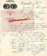 38- GRENOBLE- RARE LETTRE MANUSCRITE SIGNEE VICAT -CIMENTS CIMENT-PARIS 1900 HORS CONCOURS-1907 - France