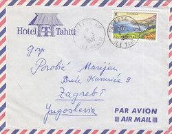 French Polynesia Hotel Tahiti Airmail Cover Sent To Yugoslavia, Papeete 1966 - Polynésie Française