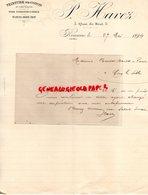 42- ROANNE - RARE LETTRE MANUSCRITE  P. HAVEZ- TEINTURE SUR COTON NOIR- 5 QUAI DU BEAL- 1894 - France