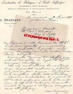 72- LE MANS- RARE LETTRE MANUSCRITE SIGNEE E. DRANSARD- CONSTRUCTION FABRIQUE ACIDE SULFURIQUE-CHIMISTE-1892 - France