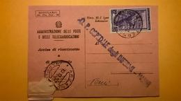 1952 AVVISO DI RICEVIMENTO E PAGAMENTO RICEVUTA BOLLO SERIE ITALIA AL LAVORO - 6. 1946-.. Republik