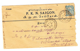 Indochina COVER TO Singapore 1931 - Indochina (1889-1945)