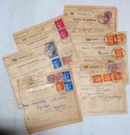 France, 1936-37 étiquettes Postale De Scherwiller, Schiltigheim, Selestat, Wissembourg, Strasbourg 6 Bulletin D'Expédit. - France