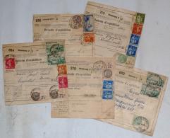 France, 1935-37 étiquettes Postale Différentes De Sélestat & Strasbourg, 5 Bulletin D'Expédit. - France