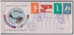Antillen / Antilles 1957 FDC 3-1M Soccer Championship Of Central America And Caribbean - Curaçao, Antilles Neérlandaises, Aruba