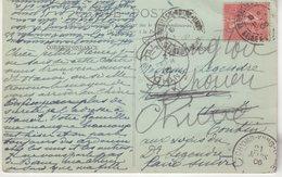 """FRANCE : 10 Cts . TYPE SEMEUSE LIGNEE . CP . POUR """" HANOI """" . REEXP A SHANGAI , PUIS TCHONG -KING . 1906 . - Marcophilie (Lettres)"""