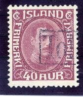 ICELAND 1931 Christian X 40 Aur.. Definitive With TOLLUR Cancellation.  Michel 164 - 1918-1944 Autonomous Administration
