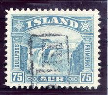 ICELAND 1931 Gullfoss 75 Aur.. Definitive With TOLLUR Cancellation.  Michel 155 - 1918-1944 Autonomous Administration