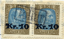 ICELAND 1929 2 Kr. Definitive Surcharged 10 Kr. Pair  With TOLLUR Cancellation.  Michel 124 - Used Stamps