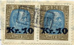 ICELAND 1929 2 Kr. Definitive Surcharged 10 Kr. Pair  With TOLLUR Cancellation.  Michel 124 - 1918-1944 Autonomous Administration