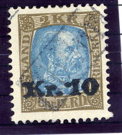ICELAND 1929 2 Kr. Definitive Surcharged 10 Kr. With TOLLUR Cancellation.  Michel 124 - Used Stamps
