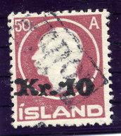 ICELAND 1925 50 Aur. Definitive Surcharged 10 Kr. With TOLLUR Cancellation.  Michel 120 - 1918-1944 Autonomous Administration