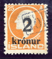 ICELAND 1925 25 Aur. Definitive Surcharged 2 Kr. With TOLLUR Cancellation.  Michel 119 - 1918-1944 Autonomous Administration