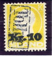 ICELAND 1924 1 Kr. Definitive Surcharged 10 Kr. With TOLLUR Cancellation.  Michel 111 - 1918-1944 Autonomous Administration