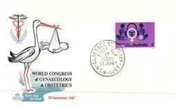 (888) Australia FDC Envelope - World Congress Of Gynaecology - 1967 / Stork And Baby - Australia