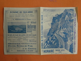 DEPLIANT TOURISTIQUE  CHEMIN DE FER ELECTRIQUE DU SALEVE  HORAIRES SAISON ETE 1909 - Dépliants Touristiques