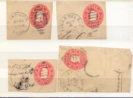 Cuba  Año 1901 4 Frontales Matasellos Santiago, Pinar Del Rio, Yagua Jay - Covers & Documents