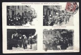 CPA ANCIENNE FRANCE- NÎMES (34)- MANIFASTATION VITICOLE DE 1907- DÉLÉGATIONS DE BÉZIERS- PORTEL- BAGES- PARAZA- VIAS - Nîmes