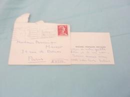 CARTE DE VISITE MANUSCRIT MADAME FRANCOIS ARTIGUES  MADAME DOMINIQUE MUSSO  1956 - Autographes