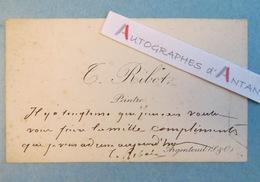 CDV Théodule RIBOT Peintre à Mme CHARCOT - Né à Saint-Nicolas-d'Attez - Carte De Visite Autographe L.A.S - Autographes