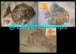 LIBYA - 1996 Fossils (3 Maximum-cards) - Fossils