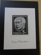 Saar Entwurf Heusserie Mit Unterschrift Peter Frantzen (6480) - 1957-59 Bundesland