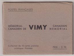 FRANCE : ENTIERS POSTAUX . 50 Cts VERT . MEMORIAL DE VIMY . LA SERIE DE 10 CARTE . DANS SA POCHETTE . 1936 . - Standard Postcards & Stamped On Demand (before 1995)