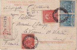 PEROU : DE LIMA . SUR CP . REC . POUR LA FRANCE . 1902 . - Peru